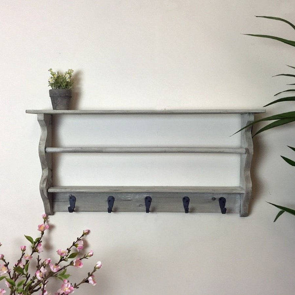 Rustic Grey Washed Wall Rack With Hooks - The Farthing