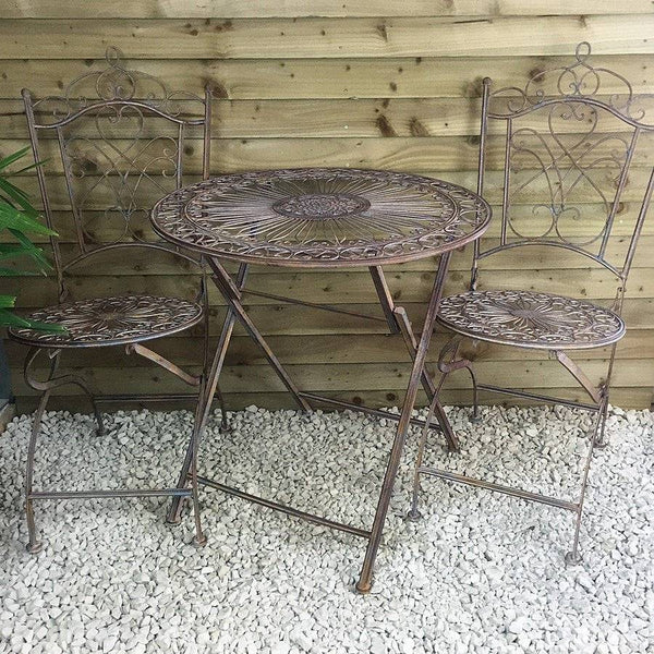 Rustic Hampton Metal Bistro Set of Table & Two Chairs | The Farthing
