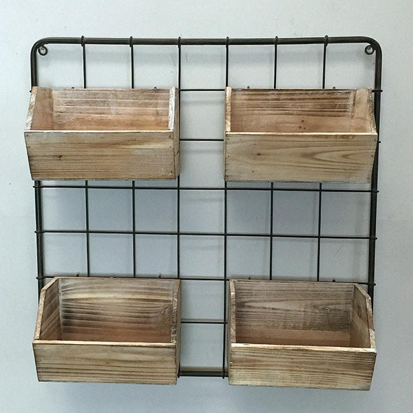 Rustic Hanging Wooden Wall Storage Boxes Vintage Wire