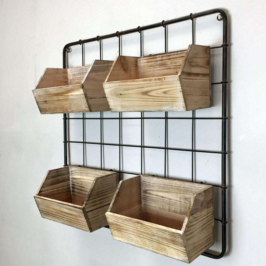 rustic hanging wooden wall storage boxes vintage wire shelf the farthing. Black Bedroom Furniture Sets. Home Design Ideas