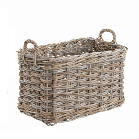 Large Rustic Hursey Rectangle Log Basket - The Farthing  - 1