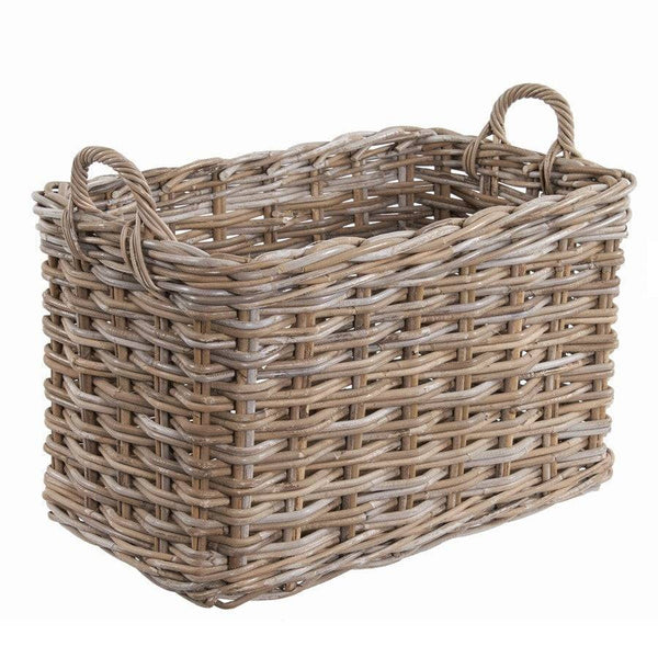 Extra Large Rustic Hursey Rectangle Log Basket - The Farthing
