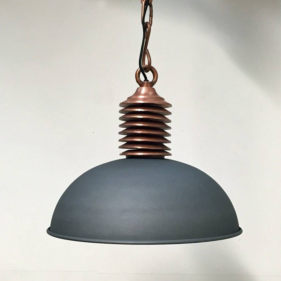 Rustic Industrial Copper & Charcoal Pendant Lamp