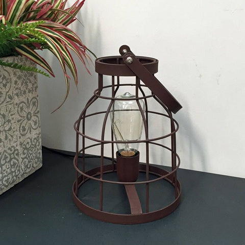Rustic Industrial Naked Wire Cage Table Lamp - The Farthing