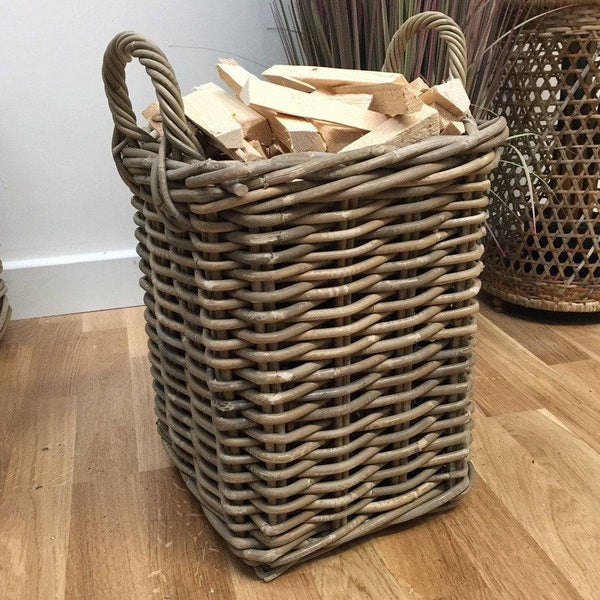 Rustic Kindling Basket in Rattan - The Farthing