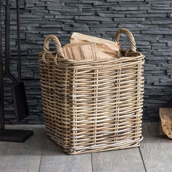 Rustic Medium Square Log Basket in Rattan | Farthing 1
