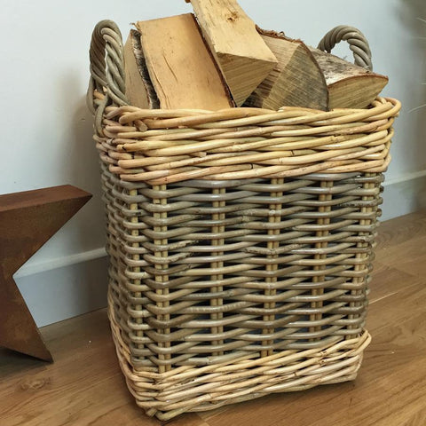 Rustic Medium Two Tone Log Basket in Rattan at the Farthing