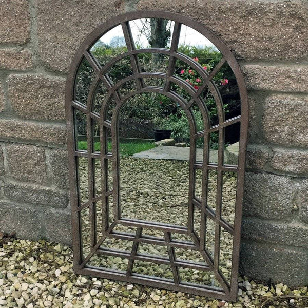 Rustic Metal Garden Arched Window Mirror - The Farthing