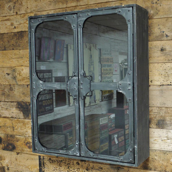 Rustic Metal Glass Door Wall Cabinet | Farthing