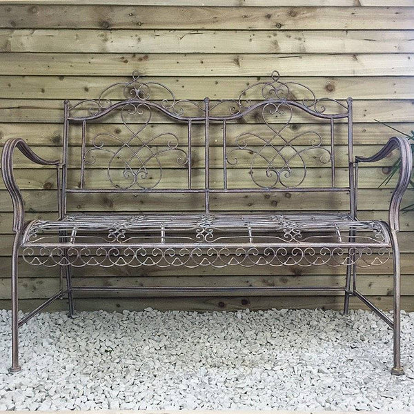Rustic Metal Hampton Bench - The Farthing