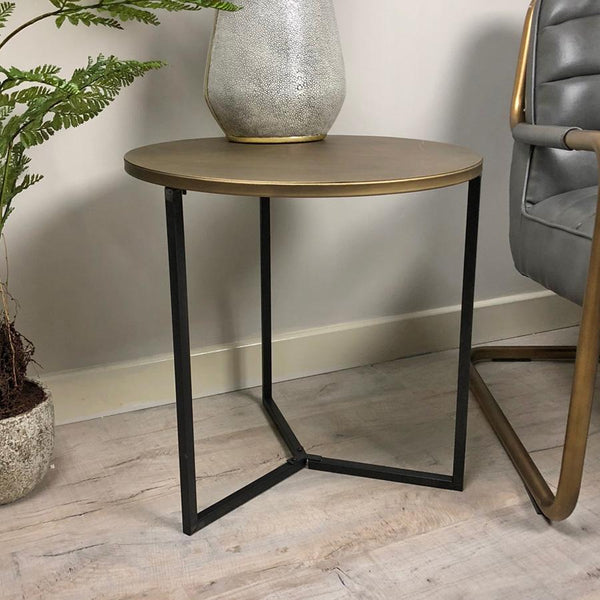 Rustic Metal Side Table - Gold & Black at the Farthing 2