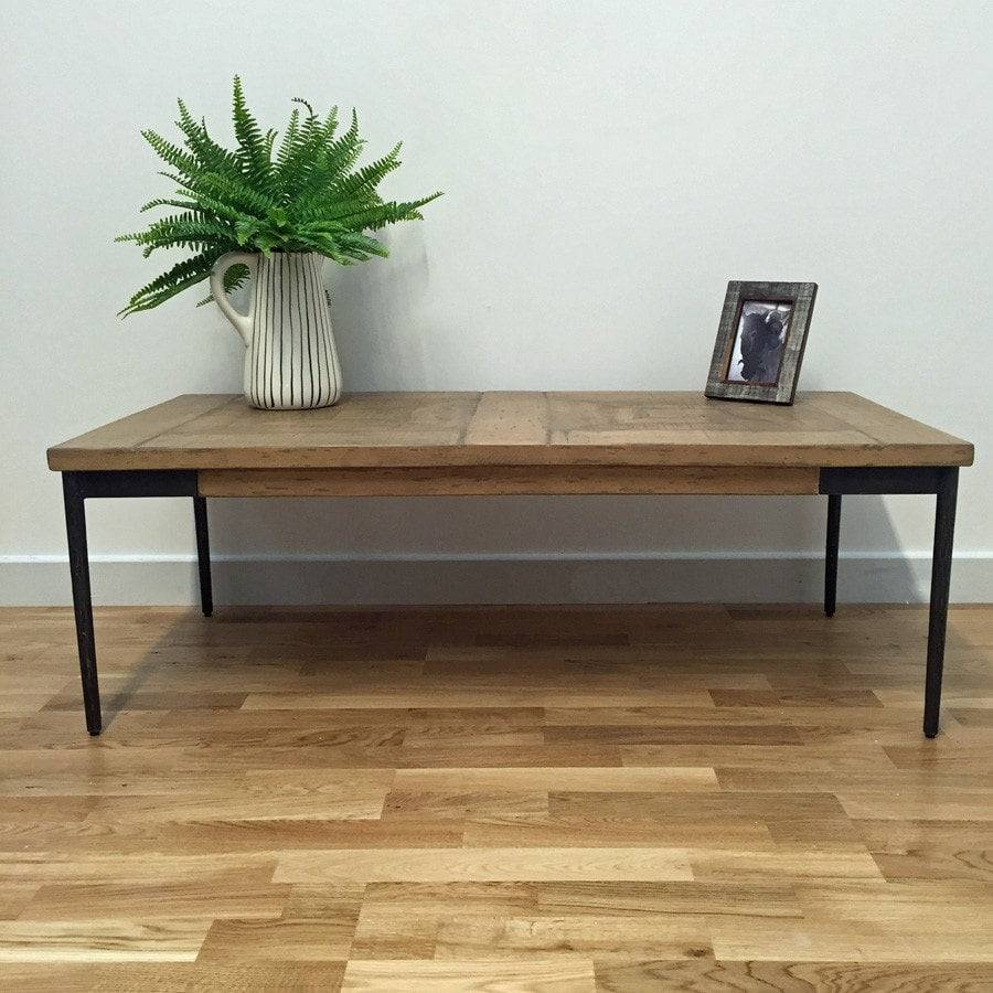 Distressed Natural Wood Coffee Table: Rustic Reclaimed Chic Wooden Coffee Table