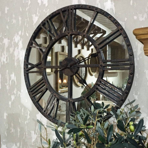 Large Vintage Wall Clock Mirror Round Clock Shabby