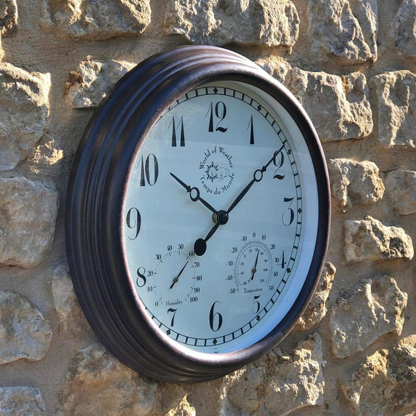 Rustic Outdoor Weather Station Clock at the Farthing