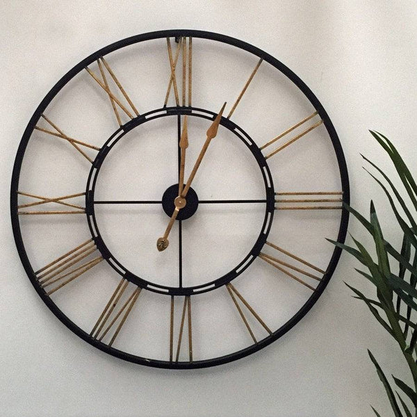 Rustic Oversized Vintage Black & Gold Skeleton Clock