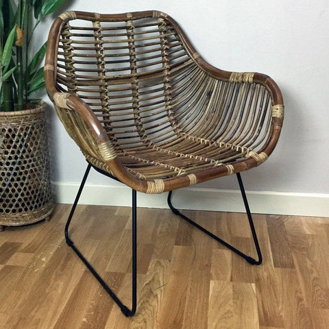 Rustic Rattan Armed Scoop Chair - The Farthing