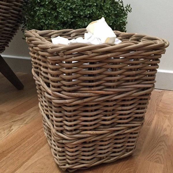 Rustic Rattan Waste Paper Basket - The Farthing