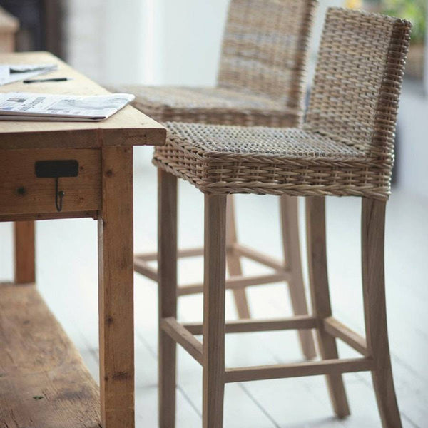 Teak & Rattan Stool at the Farthing