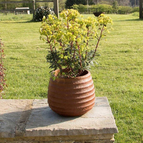 Rustic Ribbed Cement Fibre Planter - The Farthing