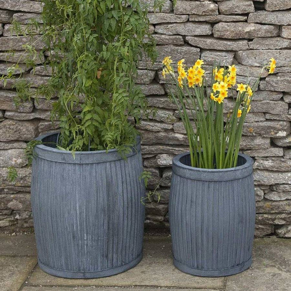 Rustic Round Deep Vence Fluted Zinc Planter Set - The Farthing