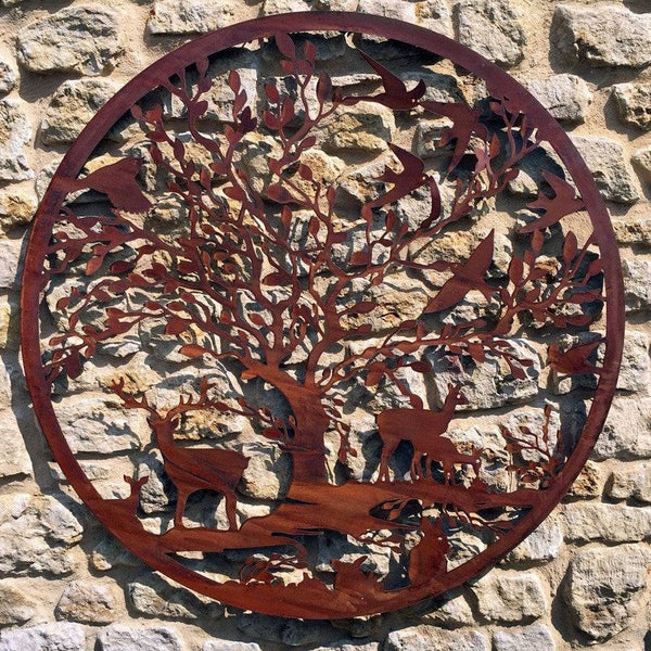 Rustic Round Metal Wildlife Wall Screen - The Farthing