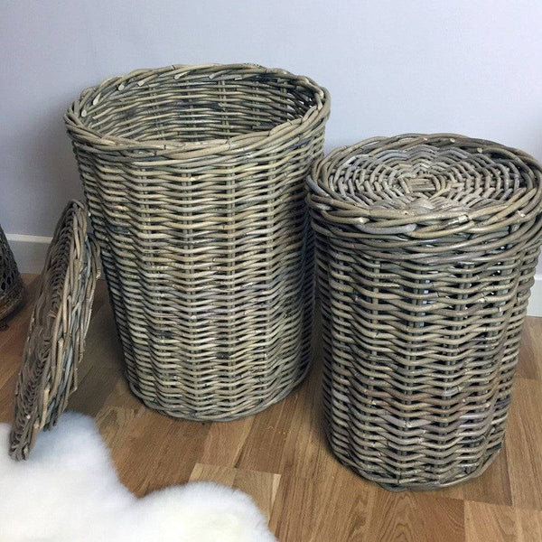 Rustic Round Rattan Laundry Basket Set - The Farthing