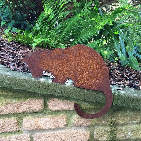 Rustic Rusty Peeping Cat Silhouette - The Farthing  - 1