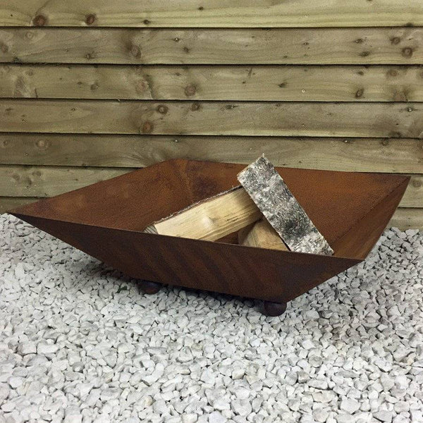Rustic Rusty Square Fire Pit Brazier - The Farthing