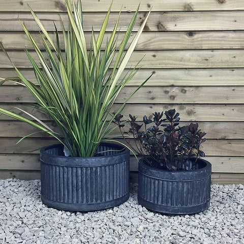 Rustic Shallow Galvanised Fluted Planter - Set of 2