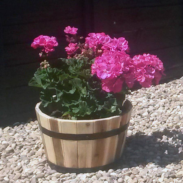 Rustic Shallow Round Barrel Planter - The Farthing