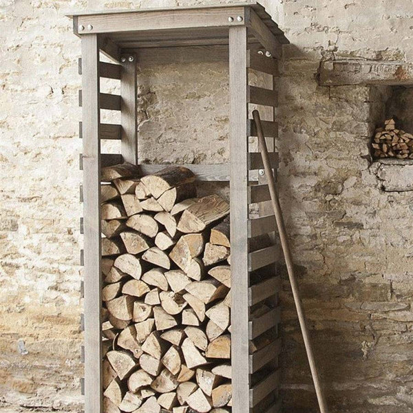 Rustic Slimline Log Store at the Farthing