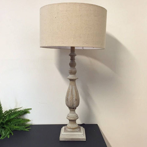 Rustic Tall Wooden Spindle Table Lamp & Shade - The Farthing