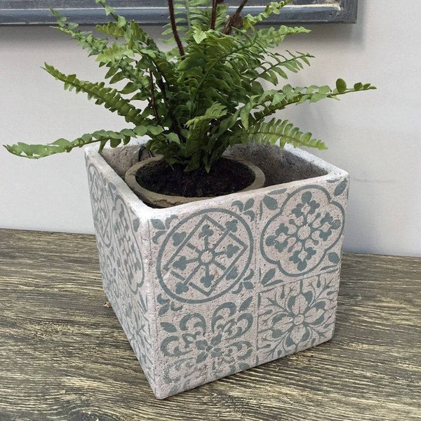 Rustic Teal Delft Plant Pot - Small - The Farthing