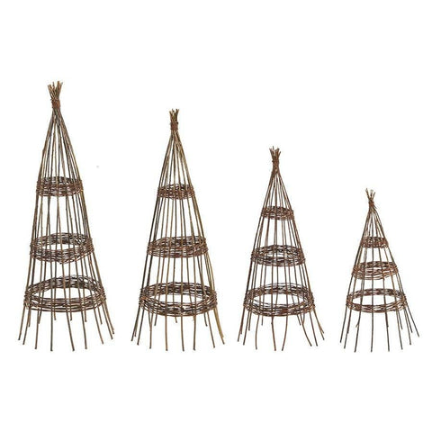 Rustic Willow Obelisk Set of Four - The Farthing