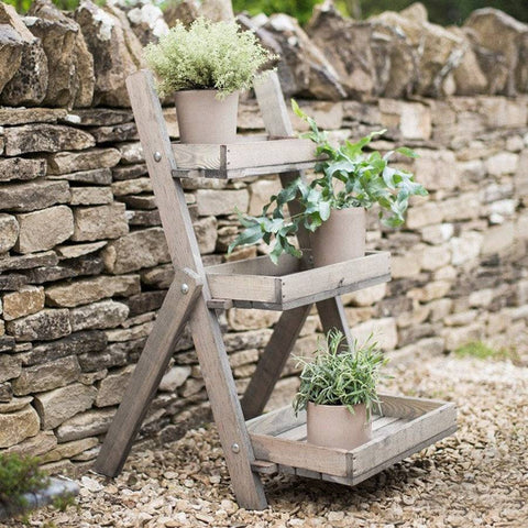 Rustic Wooden Aldsworth Plant Stand Pot Ladder - The Farthing  - 1