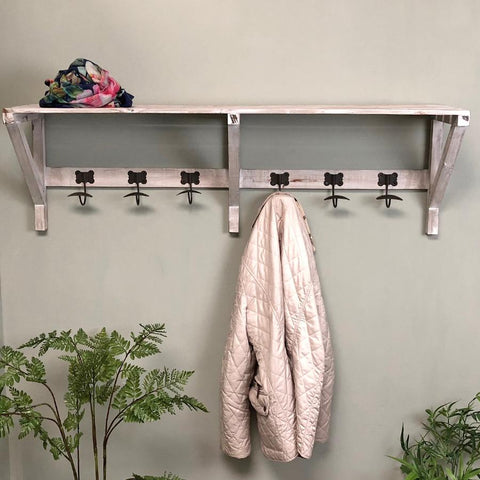 Rustic Wooden Luggage Rack with Hooks | Farthing  2