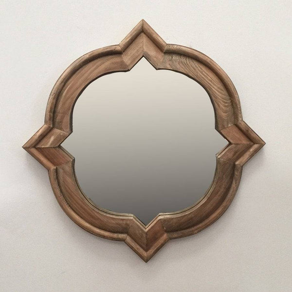 Rustic Wooden Quatrefoil Wall Mirror - The Farthing  - 1