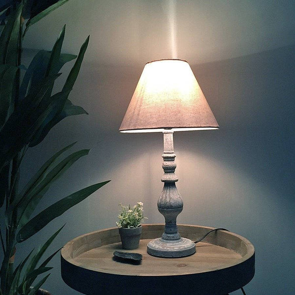 Rustic Wooden Spindle Table Lamp & Shade at the Farthing