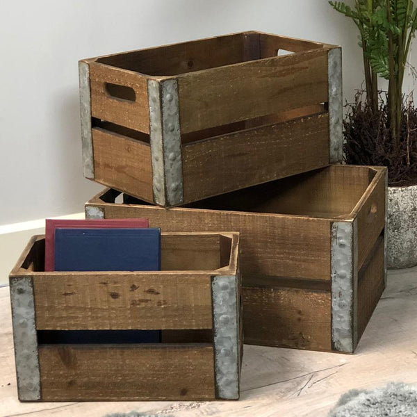 Rustic Wooden Storage Crate Set at the Farthing