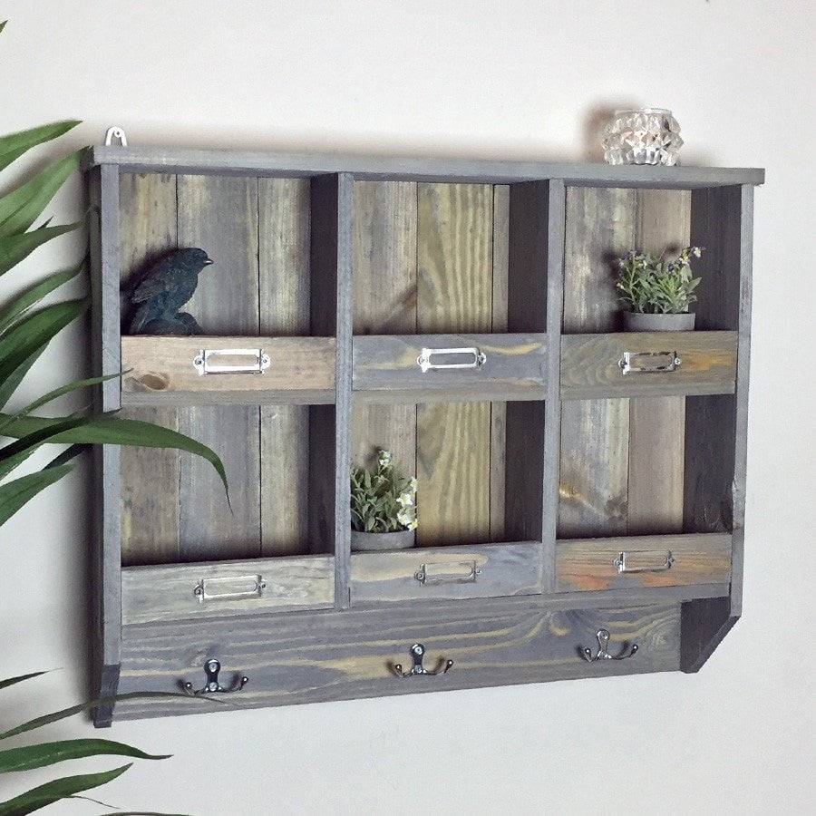 Rustic Wooden Storage Wall Unit - with hooks - The Farthing