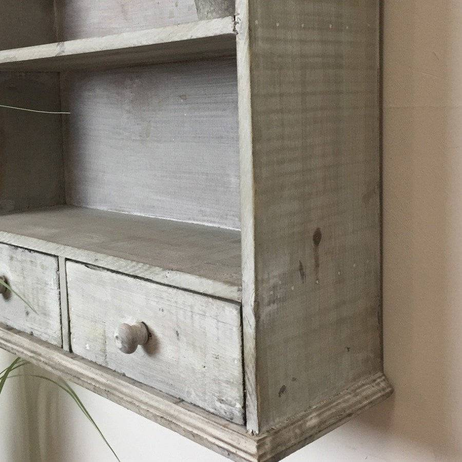 Rustic Wooden Wall Unit With Drawers - Period Grey - The Farthing