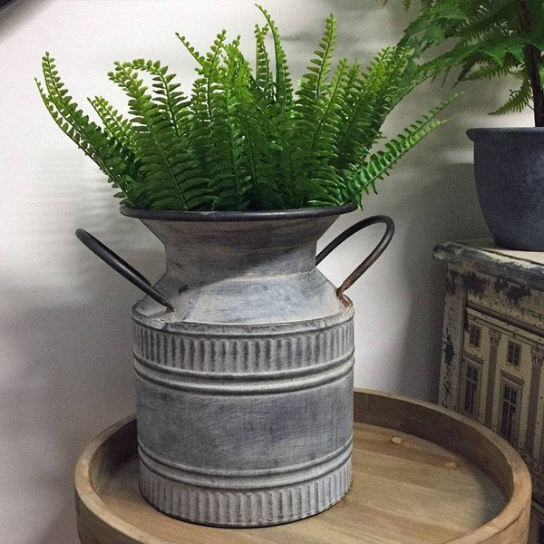 Rustic Zinc Milk Churn Planter - The Farthing