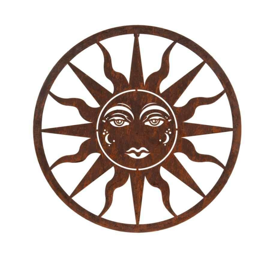 Rustic Metal Sun Wall Plaque at the farthing