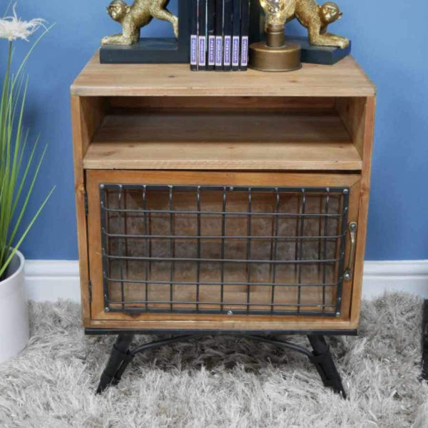 Rustic Wood and Wire Fronted Side Cabinet