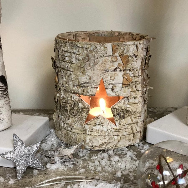 Rustic Birch Christmas Star Votive at the Farthing