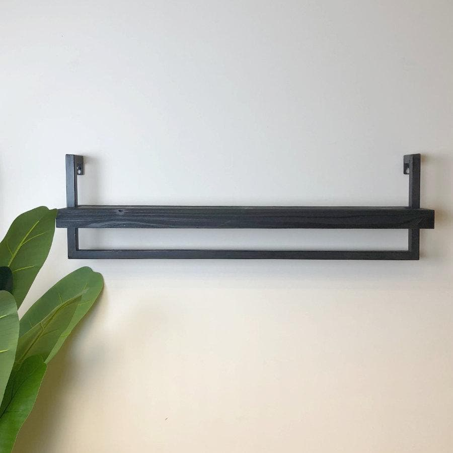 Rustic Black Wood & Metal Wall Shelf - Landscape | The Farthing 1