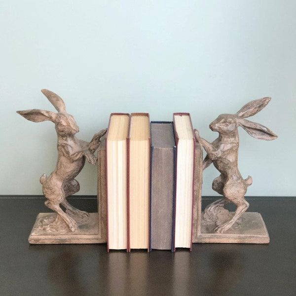 Rustic Boxing Hare Bookends - The Farthing 4
