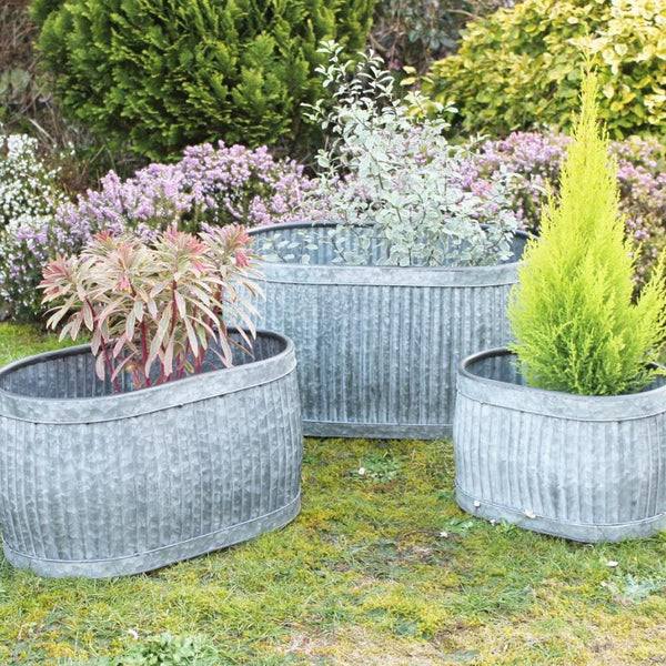 Rustic Distressed Fluted Planter Trough Set - 3 | The Farthing