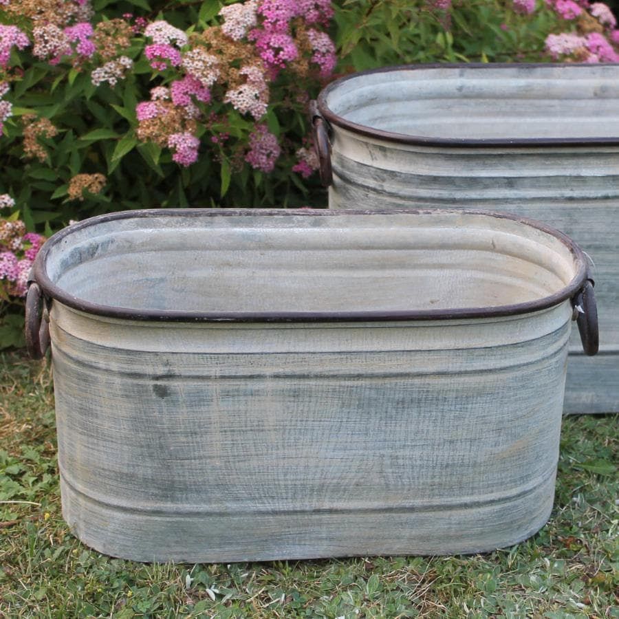 Rustic Distressed Planter Trough Set - 2