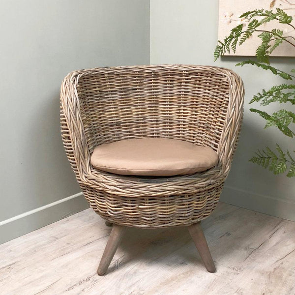 Rustic Grey Rattan Tub Chair - The Farthing 3